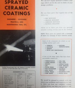 Sprayed Ceramic Coatings 1970s